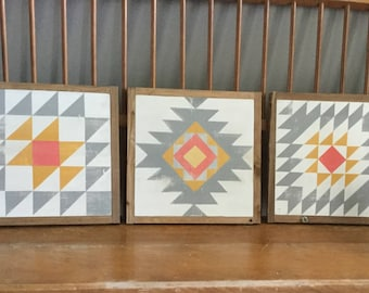 Southwest inspired set of barn quilts