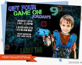 Laser Tag Party,Laser Tag Invitation,Custom Face Invites,Video Birthday Party,Gaming,Lazer Tag,Paintball Birthday,Photo Invite,Gun Party