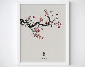 Cherry Blossom Art Print, Cherry Blossom Vintage Print, Cherry Blossom Tree Wall Art, Sakura Printable, Japanese Art Print, Love Symbol