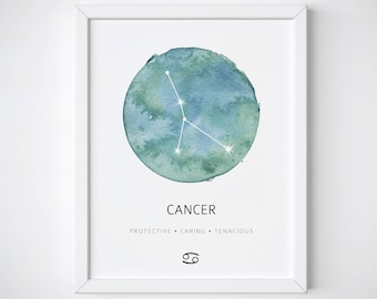 Cancer Constellation Print, Cancer Watercolor Print, Cancer Constellation Poster, Cancer Print, Zodiac Constellation Poster, Cancer Gift