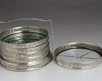 Lovely Set 5 Sterling Silver & Cut Glass Coasters w Stand / Caddy
