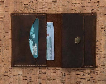 Slim Leather Wallet, Mens Wallet, Leather Wallet, Wallet, Personalized Wallet, Business Card Holder, Coin Pocket, Mens Gift, Gift-BROWN