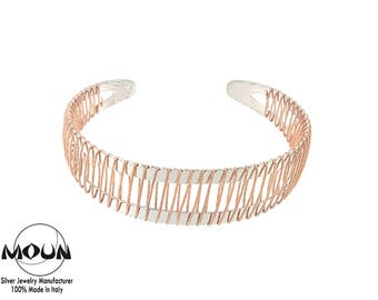 Bracelet with diamond wire entirely in sterling silver 925 made in Italy. Free Gift box.