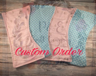 Burp Cloth (Set of 4) // Custom Burp Cloth Set -- Curved Burp Cloth Set