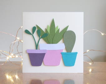 Plants Greetings Card // Cacti // Plant Lover // Handmade Birthday Card // Handcrafted // Papercraft // Papercut