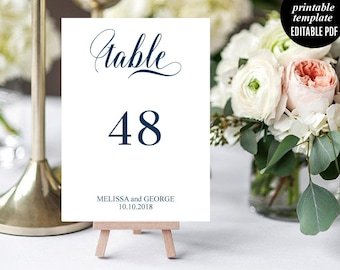 Navy Wedding Table Number Template, Printable Wedding Table number, Rustic Table Number, Calligraphy Wedding Table number, PDF, Download