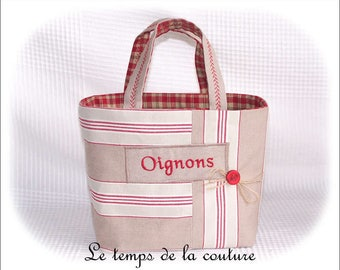 "Kitchen - Basket or bag - shades of ecru, beige, red and green - embroidered ""onions"" - hand made."