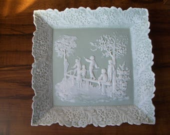 "Vintage sage green Bisque Cameo porcelain 9.5"" plate, wall decoration (#EV186)"