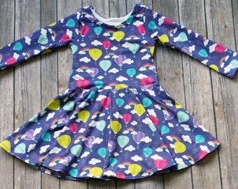 Balloon Dress. Rainbow Dress. Cloud Dress. Baby Dress. Toddler Dress. Little Girl Dress. Twirl Dress. Twirly Dress. Play Dress. Comfy Dress.