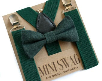 Dark Green Suspenders and Green Boys Bow Tie, Baby Christmas Outfit, Boy Cake Smash Outfit, Boy 1st Birthday Outfit, Toddler Bow Tie Set