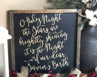 Oh Holy Night Sign - Oh Holy Night - Christmas Sign - Rustic Home Decor - Rustic Wooden Sign - Housewarming - Hand Painted Sign - Wood Sign