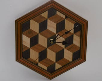 Louis Cube Wood Veneer Wall Clock