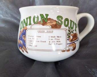 ONION SOUP Mug 1970's Vintage Retro Recipe Soup Bowl Mug