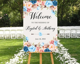 Wedding Welcome Sign Light Blue Peach Pink Blush Floral Peonies Boho Digital Wedding Sign Bohemian Bridal Wedding Welcome Poster WS-022b