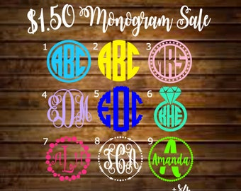 SALE - Monogram Decal/Monogram Sticker/Monogram Car Decal/Vinyl Decal/Vinyl Monogram/Yeti Decal/Car Decal/Laptop Decal/Yeti Cup Decal/Yeti