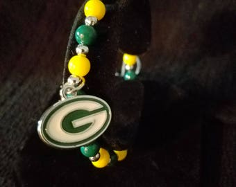 Green Bay Packer's Bracelet, Glass Beads, Metal Charms.