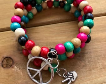 Peace Sign Bracelet with wood beads