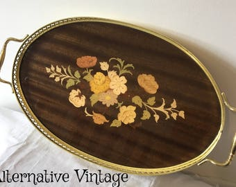 Beautiful Vintage inlaid lacquer drinks tray;  Decorative floral design
