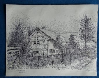 Pierre Day-Mechelen, half-timbered House pen drawing
