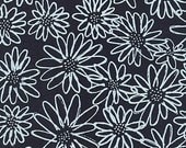 Blueberry Park by Karen Lewis, Scruffy Daisy in Indigo, OOP, Indigo Kona, Large Print Floral, Navy Blue and White Fabric, 15747-62