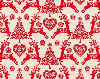 Makower UK - Scandi 4 - Set Reindeer in Red