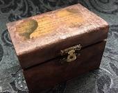 Steampunk Box, Small Wooden Trinket Box, Hot Air Balloon Trinket Box