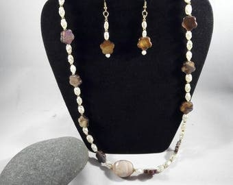 3 Piece Jewelry  Set, Womens Jewelry, Shell Jewelry Set, Womans Necklace Set, Gift Set for women, Necklace,