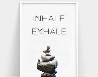Inhale Exhale Print Yoga Stones Wall Art Zen Breathe Pilates