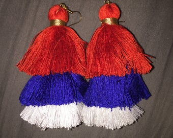 Red, white, and blue tassel earrings