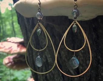 Labradorite, Pyrite & Raw Turkish Brass Earrings