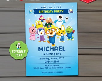 Pororo Invitation Birthday Party - EDITABLE  Text - Instant Download - Pororo Printable Invitation Card - Cute Penguin Invite