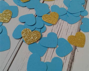 Blue heart confetti, paper confetti, blue confetti, confetti, wedding confetti, baby shower boy, gold glitter heart confetti, paper hearts.