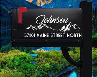 Customized Mountains Mailbox Address Decal, Personalized Mailbox Decal, Mountains Decals, Mountains Decor, Mailbox Stickers, Address Decals