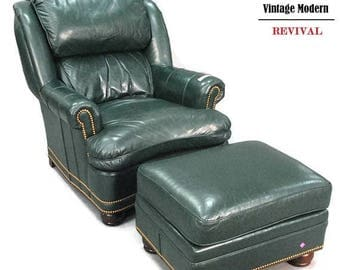 NOVEMBER SALE Hancock and Moore Green Leather Wingback Recliner Chair u0026 Ottoman  sc 1 st  Etsy & Vintage recliner | Etsy islam-shia.org