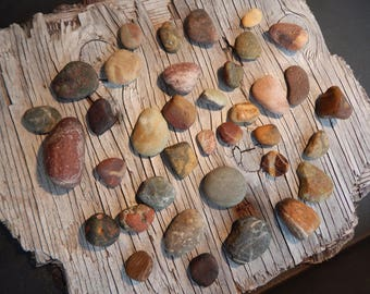 Beach Stones Colorful Multi Colored Granite Rocks, Marble Rocks, Pebbles, Terrarium supplies, Handmade, Rock Collection