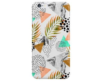 Palmtree Leaves Marble Phone Case Cover for Apple iPhone 5 6 6s 7 8 Plus & Samsung Galaxy