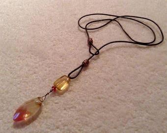Natural Stone Lariat Pendant Necklace