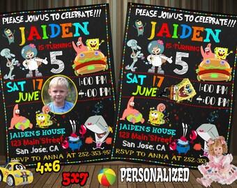 Spongebob Invitation, Spongebob Birthday Invitation, Spongebob, Spongebob Printable, Spongebob Card, Spongebob Invite, Spongebob Evite