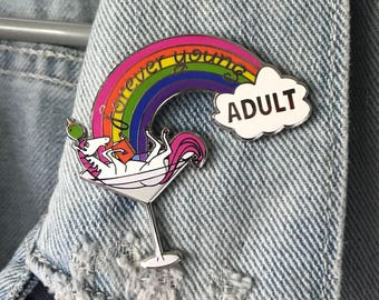 Unicorn Book Lover Enamel Pin: Young Adult, Martini Glass, Drunk Unicorn, Reading, Rainbow