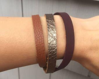 Leather Bracelet for Women, Brown, Metallic Brown and Purple Leather Bracelet,  Boho Leather Bracelet, Leather Wrap Bracelet