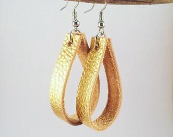 Gold Earrings, Gold Leather Earrings, Bridesmaid Earrings, Boho Earrings, Bohemian Jewelry, Dangling Earrings, Gypsy Earrings