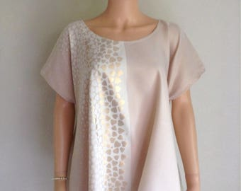 Tunic size 46/48/50/52 cotton blend beige powder and gold Corolla