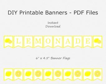 Sale Lemonade Banner - Yellow - Lemon - Baby Shower - Birthday Party - DIY Printable - INSTANT DOWNLOAD