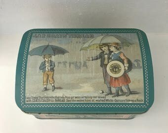 Vintage J&P Coats' Thread Tin - sewing tin - advertising tin