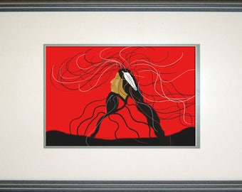 Long Hair Clan, Red, Custom, Art print , Canvas, Original, Digital, Art, Painting, Native American Seven Clans,Cherokee,