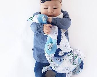 Freshcut Bluebell Muslin lovey / Security blanket/ Burp cloth /personalized lovey / monogrammed lovey/ Printed Blanket