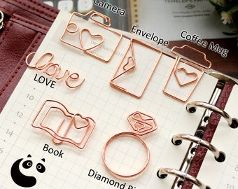 3 x Paper Clips (Rose Gold) Diamond Ring Coffee Mug LOVE Envelope Book Camera/ Office Accessories / For Her / Gift /Planner Paper Clips