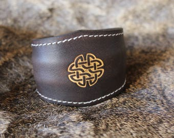 Leather Bracelet engraved, Celtic symbol, closure way torque