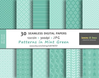 Mint Green Patterns - Digital Papers JPG | 300dpi | 12x12in - Seamless Pattern, Backgrounds - SET-136-03-Mint-Green