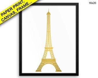 Eiffel Tower Wall Art Framed Eiffel Tower Canvas Print Eiffel Tower Framed Wall Art Eiffel Tower Poster Eiffel Tower gold art Printed decor